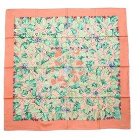 Hermès-Hermès Carre90 l'ARBRE de SOiE silk wood mulberry Tree and silkworm scarf pink-Pink