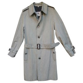 Burberry-men's Burberry vintage t trench coat 46 new condition-Black,White