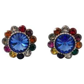Miu Miu-Floral Crystal Clip Earrings-Multiple colors