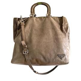 Prada-Aged leather shopper bag-Taupe