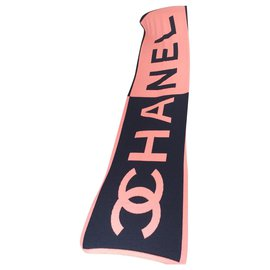 Chanel-Scarves-Coral,Navy blue