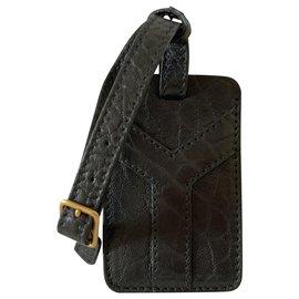 Yves Saint Laurent-Étiquette de voyage en cuir noir-Noir
