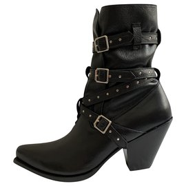 Céline-Rock black leather Berlin boots-Black