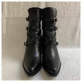 Céline-Black leather Berlin ankle boots-Black