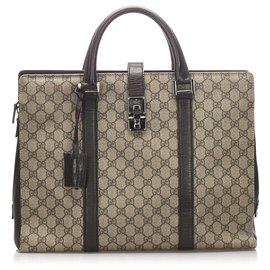 Gucci-Gucci Brown GG Supreme Business Bag-Marron,Beige