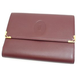 Cartier-Cartier Red Must de Cartier Leather Small Wallet-Red,Dark red