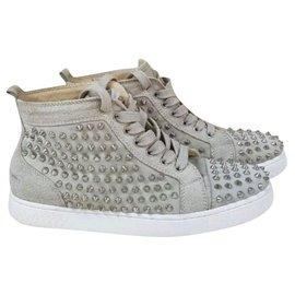 Christian Louboutin-Christian Louboutin Beige Suede Spikes Sneakers Sz.40-Beige