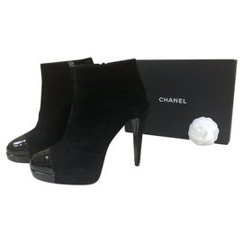 Chanel-Chanel  Black Suede Patent Leather Logo CC Ankle Boots Booties Sz. 38,5-Black