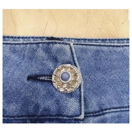 Chanel-Chanel Button  Denim Mini Skirt Sz 38-Blue