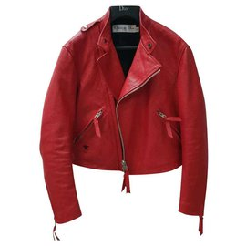 Dior-Christian Dior Red Shaman Leather Moto Jacket Sz.36-Rouge