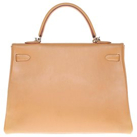 Hermès-Hermès Kelly handbag 35 turned over with shoulder strap in natural cow, Palladie silver metal trim-Golden