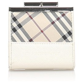 Burberry-Burberry White Nova Check Leather Coin Pouch-White,Multiple colors