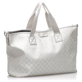 Gucci-Gucci Silver GG Canvas Travel Bag-Argenté