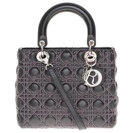 Christian Dior-Limited series / Christian Dior bag Lady Dior MM model in black cannage leather, Garniture en métal argenté-Black