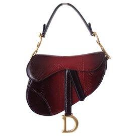 Dior-DIOR PYTHON MINI SADDLE BAG-Red,Dark red