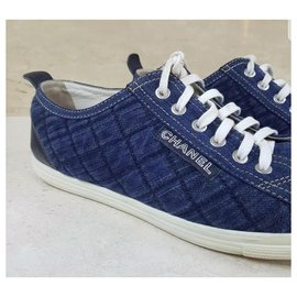 Chanel-Iconic Authentic Chanel Denim Low Tops Trainers Sz.39-Blue
