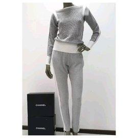 Chanel-Chanel Cotton  Logo Pants Suit Sz.34-Grey