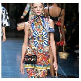 Dolce & Gabbana-DOLCE & GABBANA Costume jupe en soie solaire Majolica Sz. 42-Multicolore