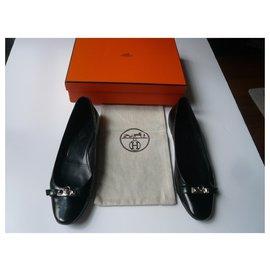 Hermès-HERMES Liberty black patent leather ballet flats T40-Black