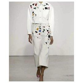 Oscar de la Renta-Oscar De La Renta Cotton Jacket Skirt Suit Sz. S-Multicolore