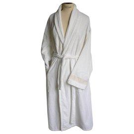 Hermès-HERMES Peignoir coton peigné blanc Excellent état quasi neuf TL-Blanc