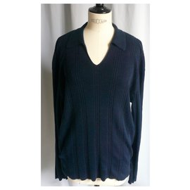Hermès-HERMES Men's navy cotton sweater with polo neck BE TXL-Navy blue