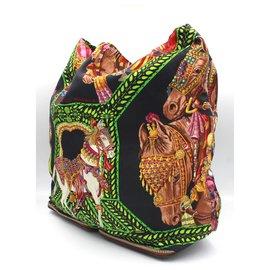"""Hermès-Hermès silky pop totebag """"danse du cheval marwari"""" printed-Black"""
