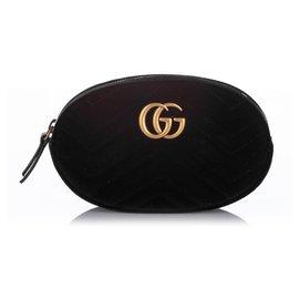 Gucci-Gucci Black GG Marmont Velvet Belt Bag-Noir