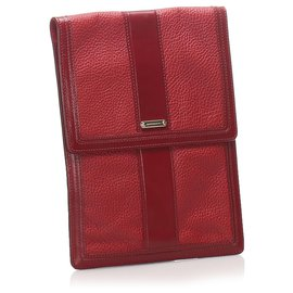 Burberry-Burberry Red Leather Clutch Bag-Red