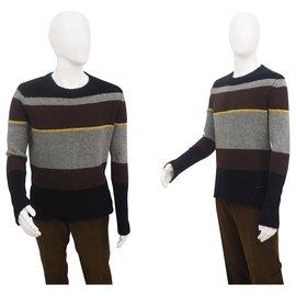 Dkny-Dkny Men's Block Stripe Jumper Size L-Brown,Grey,Yellow,Navy blue
