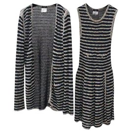 Chanel-Chanel Striped Knit Tweed Dress Suit Set Sz.34, 36-Multiple colors
