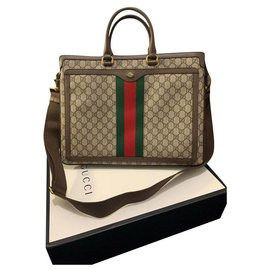 Gucci-Gucci Ophidia GG Briefcase-Brown
