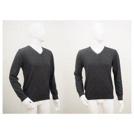 Bertoni 1949-Bertoni Cashmere Merino Wool V Neck Jumper Size L-Grey