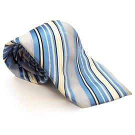 Giorgio Armani-Giorgio Armani Stripe Silk Neck Tie-Blue,Navy blue,Light blue,Dark blue
