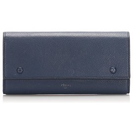 Céline-Celine Blue Continental Leather Wallet-Blue