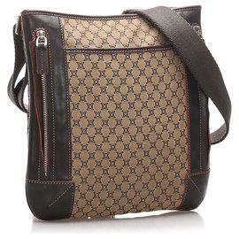 Céline-Celine Brown Macadam Canvas Crossbody Bag-Brown,Light brown,Dark brown