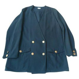 Chanel-CHANEL Vintage navy blazer jacket with golden buttons42-Navy blue