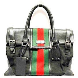 Gucci-Sac de voyage en cuir et toile monogram noir Vintage GG-Noir