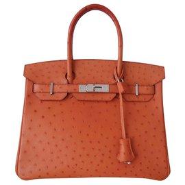 Hermès-HERMES BIRKIN BAG 30 Ostrich-Orange