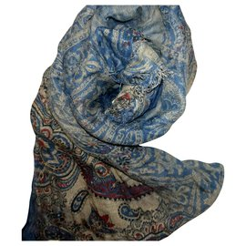 Autre Marque-ALTEA long scarf with paisley and faded blue patterns-Blue