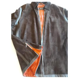 Brioni-BRIONI HIGH-END JACKET IN LAMB LEATHER AND SUEDE-Dark brown