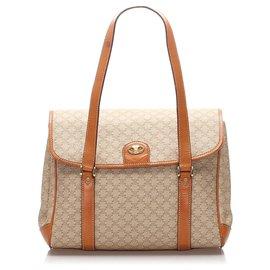 Céline-Celine Brown Macadam Handbag-Brown