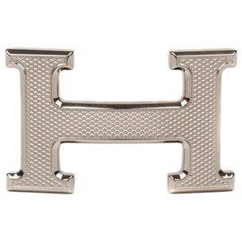 Hermès-Hermès Guillochée belt buckle in silver metal 37MM-Silvery