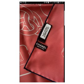 Chanel-Silk scarves-Coral