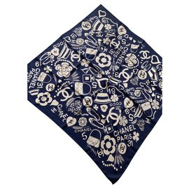 Chanel-Silk scarves-Navy blue