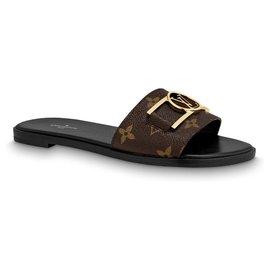 Louis Vuitton-LV Mules Lockit plat-Noir