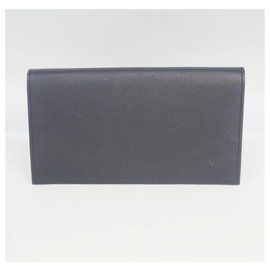 Hermès-HERMES Citizen Twill Folded long wallet unisex long wallet Navy x silver hardware-Navy blue,Silver hardware