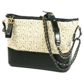 Chanel-CHANEL Gabrielle de Hobo bag Womens shoulder bag A93824 ivory x black-Black,Cream