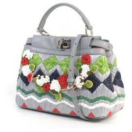 Fendi-FENDI Satchel PEEKABOO Embroidered handbag-Other
