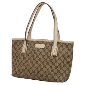 Gucci-Sac cabas femme Gucci GG plus épaule 211138 beige x ivoire-Beige,Écru